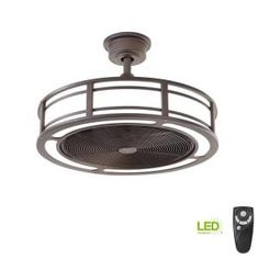 Home Decorators Collection Brette II 23 in. LED Indoor/Outdoor Espresso Bronze Ceiling Fan with Light and Remote Control - The Home Depot Black Ceiling Fan, Bronze Ceiling Fan, Led Light Kits, Led Light Strips, Drum Cage, Ceiling Fan In Kitchen, Outdoor Light Bulbs, Brushed Nickel Ceiling Fan, Outdoor Ceiling Fans