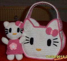 Hello Kitty Crochet, Hello Kitty Purse, Crochet For Kids, Crochet Toys, Crochet Handbags, Crochet Blouse, Baby Crafts, Baby Knitting, Baby Shoes