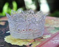Gorgeous Lace Crown Fascinator Headband - Crown Jewels Collection - Princess Sapphire