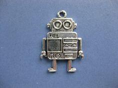 2 Robot Charms  Robot Pendant  Robot  Robots  by RoosTreasureTrunk