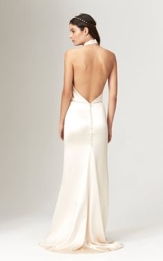 Shop Ruby Silk Twisted Halter Neck Backless Gown With Train. Savannah Miller's 'Ruby' gown is designed in silk satin in a golden ivory with a twisted halter neck. Top Wedding Dresses, Bridal Dresses, Wedding Outfits, Bridesmaid Dresses, Savannah Miller, Backless Gown, Satin Gown, Silk Dress, Bridal Style