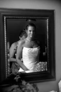 Love the getting ready wedding photo pose with the mirror!