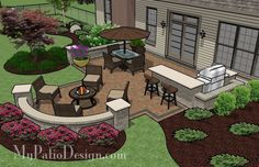 Attractive backyard patio design plans patio for backyard entertaining outdoor fireplaces fire pits My Patio Design, Backyard Patio Designs, Outdoor Kitchen Design, Backyard Projects, Backyard Landscaping, Backyard Ideas, Landscaping Ideas, Backyard Bar, Sloped Backyard