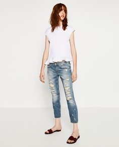 Image 1 of MID-RISE CIGARETTE JEANS from Zara