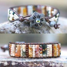 Ocean Jasper Gemstone Bracelet Crystal Beaded Leather Wrap