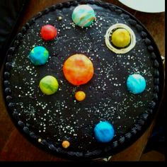 Solar system birthday cake by JRC Solar System Cake, Galaxy Desserts, Rocket Birthday Parties, Planet Cake, Galaxy Cake, Occasion Cakes, Cute Cakes, Celebration Cakes, Cakes And More