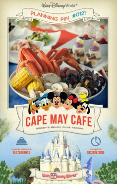 Walt Disney World Planning Pins: Coast on down to this New England-style, beachside setting for a Disney Character breakfast and a seafood dinner buffet.