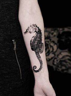 Seahorse tattoo by @Diana Severinenko in Kiev, Ukraine