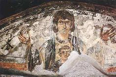 Virgin and Child - Wall painting from the Roman catacombs (early Christian catacomb).        Date: Fourth century