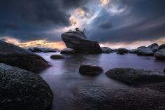 "A stormy evening on the eastern shores of Lake Tahoe. ""Upon This Rock"" by Victor Carreiro [1400x935] [OC]"