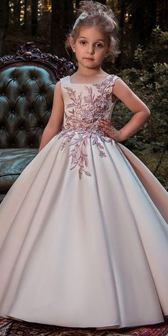 Delicate Satin Square Neckline Floor-length Ball Gown Flower Girl Dresses With Lace Appliques & Flowers & Beadings African Dresses For Kids, Gowns For Girls, Little Girl Dresses, Girls Dresses, Girls Designer Dresses, Flower Girl Gown, Kids Gown, Princess Dress Kids, Kids Frocks
