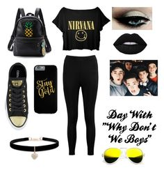 "Day with ""Why Don't We Boys"" by zayzaybaerowland on Polyvore featuring polyvore fashion style Boohoo Converse WithChic Betsey Johnson ZeroUV clothing"
