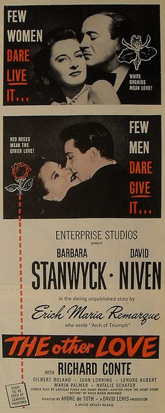 1940s MOVIE ADVERTISEMENT Life Magazine BARBARA STANWYCK David Niven THE OTHER LOVE