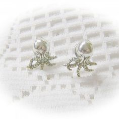 Baby OCTOPUS Ear Studs - Squid Pierced Earrings - STEAMPUNK - Victorian Style - Silver $14