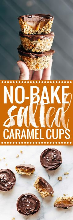 No-Bake Salted Caramel Cups! Oat crust with a soft salted caramel center, topped with chocolate and sea salt. Perfect for a quick snack or dessert!   pinchofyum.com