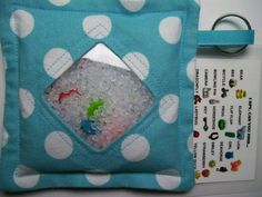 I Spy Bag Aqua with Polka Dots Neutral themed contents by JanetR