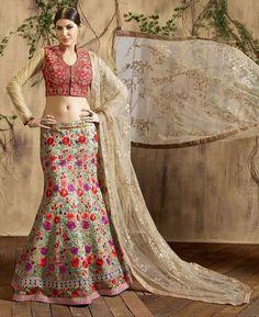 Buy Beautiful Beige Lehenga Choli online at  https://www.a1designerwear.com/beautiful-beige-lehenga-choli-4  Price: $214.37 USD