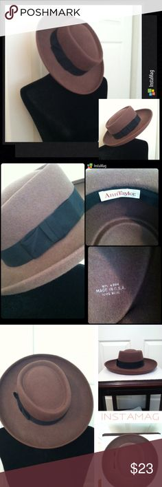 "Ann Taylor 100% Wool Felt Hat Ann Taylor 100% Wool Felt Hat     I've had this since the '80's, and I think I paid about $50 for it back then.  It is a milk chocolate brown with a black gross-grain ribbon around the brim.  It is 100% wool and made in the USA.  The inner circumference is approximately 22"" and from brim to brim approximately 14.5"" across.  Super chic and in very good condition.  I always kept it in a plastic tote to protect it. Ann Taylor Accessories Hats"