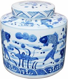 Add to your Blue & White collection with this porcelain Blue & White Fish Cylinder Tea Jar - Dimensions: 7.9W x 7.9H x 8.3H