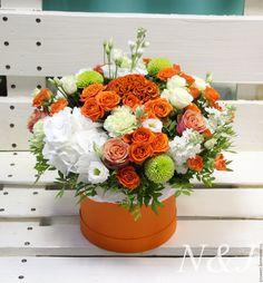 Купить Букет в коробке Maxi - рыжий, оранжевый, цветы, букет цветов, цветок, цветочный букет