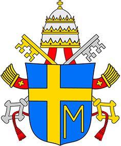 """El escudo pontificio de Juan Pablo II  Otro signo de su amor filial a Santa María es su escudo pontificio: sobre un fondo azul, una cruz amarilla, y bajo el madero horizontal derecho, una """"M"""", también amarilla, representando a la Madre que estaba """"al pie de la cruz"""", donde -a decir de San Pablo- en Cristo estaba Dios reconciliando el mundo consigo."""