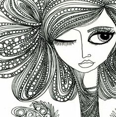 """...another """"bad hair day"""" lesson reference.  kind of """"zentangle-ish"""" by fairytwine"""