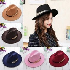 Vintage Womens Fashion Wide Brim Felt Leaf Bowler Fedora Cap Floppy Panama Hat
