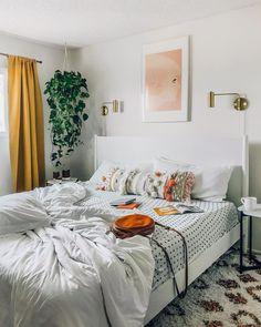 57 Modern Small Bedroom Design Ideas For Home. It used to be very difficult to get a decent small bedroom design but the times have changed and with the way in which modern furniture and room design i. Apartment Makeover, Apartment Bedroom Decor, Home Bedroom, Bedroom Ideas, Hippy Bedroom, Bedroom Styles, Master Bedrooms, Messy Bedroom, Bedroom Artwork