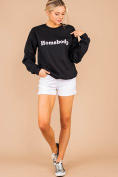 Everyone is a homeboy these days! This cozy sweatshirt is perfect for all these days at home! You can shop this sweatshirt at the Mint Julep Boutique! Mint Julep Boutique, Pjs, Neckline, Graphic Sweatshirt, Cozy, Shorts, Sweatshirts, Long Sleeve, Sleeves