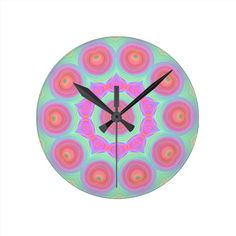 Pink and Green Floral Kaleidoscope Design Wallclock - CLICK ON IMAGE TO PURCHASE OR TO BROWSE LINE OF PRODUCTS WITH SAME DESIGN.  THANK YOU