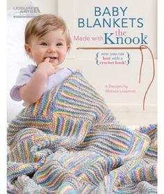 Sweet little blankets for babies are so much fun to make with the Knook and medium weight yarn. The Knook is a specialized crochet hook that creates true knitted fabric, while the attached cord completely prevents dropped stitches! It's great for beginners or anyone who would like to learn to knit the easy way. Clear