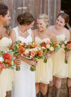 Oregon Ranch Wedding with Yellow Bridesmaids Dresses