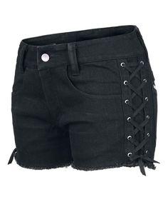 Dressation Womens Street Punk Side Lace Up Shorts Jeans Pants Black