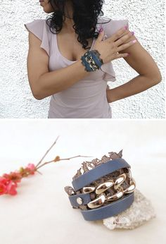 Navy blue lace leather wrap bracelet leather chain by Glad2Balive