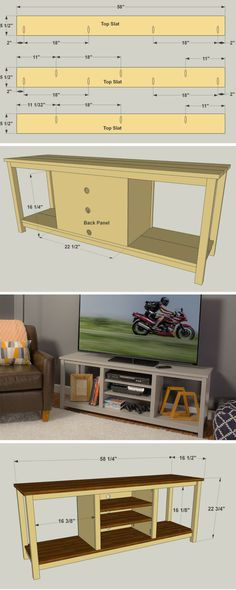 Create an attractive home for your television with this open-concept stand that's easy to build. It can accommodate a large flat-screen TV, and includes storage compartments to house media components and display your favorite decor. FREE PLANS at buildsomething.com