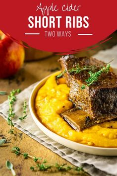 Looking for the best fall comfort food? Try these braised apple cider short ribs! This easy short ribs recipe is a fun way to change it up when you're looking for new fall dinner ideas, and you can never go wrong with braised short ribs. Includes directions for slow cooker short ribs and Dutch oven short ribs! #applecidershortribs #appleciderbraisedshortribs #fallshortribrecipes #braisedshortribs #braisedshortribsoven #braisedshortribsslowcooker #shortribsrecipe Short Ribs In Oven, Short Ribs Slow Cooker, Rib Recipes, Healthy Beef Recipes, Vegetarian Recipes, Real Food Recipes, Apple Recipes, Fall Dinner Recipes, Lunch Recipes