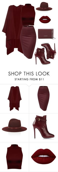 """""""Monochromatic Look  - Burgundy"""" by iamdeesymone ❤ liked on Polyvore featuring The Row, Janessa Leone, Atelier Mercadal, WearAll, Lime Crime and Givenchy"""
