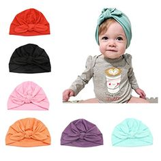 CANSHOW 6 Pcs Baby Hat Girl Newborn Beanie Cute Soft Cotton for Infant Girl  Turban 3-12 Months 8b1bf611e4a1