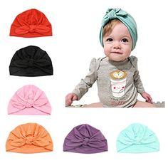 CANSHOW 6 Pcs Baby Hat Girl Newborn Beanie Cute Soft Cotton for Infant Girl  Turban 3-12 Months fb1b7ec4bd33