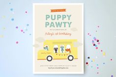 Puppy Pawty Children's Birthday Party Invitations by Bethany Anderson at minted.com