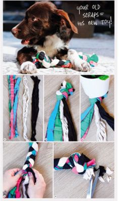 Diy toy for dogs  made with scraps. Very good use for leftover fabric!  Now I won't feel like I just have to save every piece of leftover fabric.  My baby would love it.