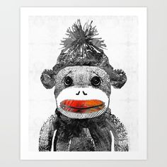 Sock Monkey Art In Black White And Red - By Sharon Cummings<br/> <br/> sock monkey, sock, monkey, monkies, sock monkeys, monkeys, toy,toys, kid's toys, funny, funny toys, whimsical, black, and, white, black and white, gray children, children's room, nursery, baby, baby shower, gift, baby gift, babies, animals, cute animals, fun, happy, sweet, sad, vintage toys, vintage, vintage sock monkey, old fashioned, old fashioned toys, old, fashioned, sharon cummings, decor, zoo, animal prints, humor…