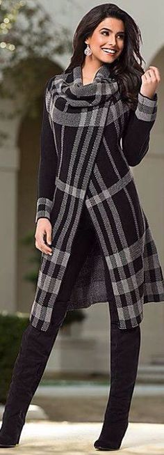 Grey/black plaid sweater