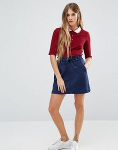 Shop the latest Brave Soul Mini Skirt With Drawstring Waist trends with ASOS! Short Skirts, Mini Skirts, Women's Skirts, A Line Mini Skirt, Asos Maternity, Faux Suede Fabric, Navy Shorts, Drawstring Waist, Denim Skirt