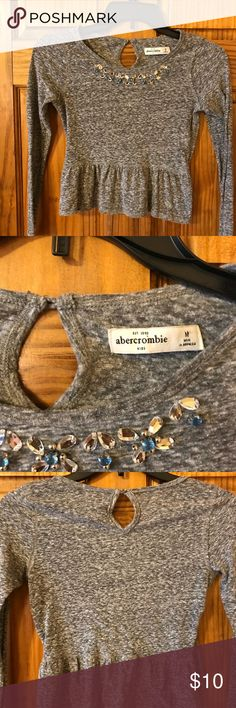 Abercrombie Kids gray embellished top Gray flounce bottom top with silver and blue embellishment. Great condition. abercrombie kids Shirts & Tops