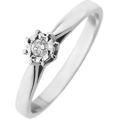 Starlight 9Ct Gold 1/4Ct Look 5 Point Diamond Illusion Set Solitaire... ($220) ❤ liked on Polyvore featuring jewelry, rings, diamond solitaire, yellow diamond rings, diamond anniversary rings, gold anniversary rings and diamond rings
