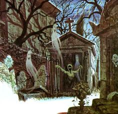 """vintagegal: """" Illustration by Collin Campbell for Disney's """"Story and Songs of The Haunted Mansion"""" LP c. Haunted Mansion Halloween, Disney Halloween, Halloween Art, Holidays Halloween, Vintage Halloween, Halloween Stuff, Haunted Houses, Halloween Rules, Halloween Pictures"""