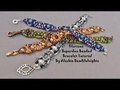 Beading tutorial DIY - Pillow bracelet with Superduo / Twin, Swarovski bicones & seed beads - YouTube