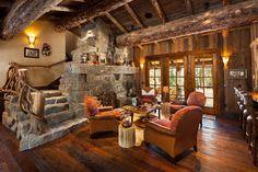 Rustic Living Room Ideas DHOSHER Casa Rústica Em Pedra E Madeira