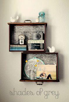 muurdecoratie // een idee voor aan je muur met en oude lade